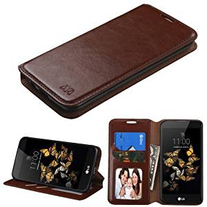 LG Phoenix 2 GoPhone AT&T Wallet Filp Case, BornTech PU Leather Fold stand Wallet pouch with Credit Card Slots Cover Case, For LG K8 Phone Case (Brown Wallet Pouch)