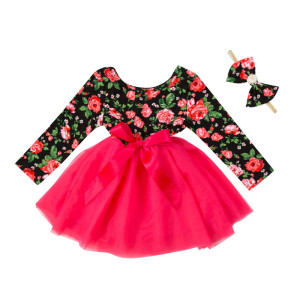 2018 Wholesale New design baby girls' dress bow long sleeve cotton clothing with headband