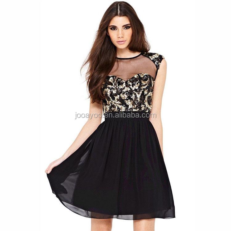 Sexy Black Beauty Sequin Skater Mini Dress Elegant Evening Dress ...