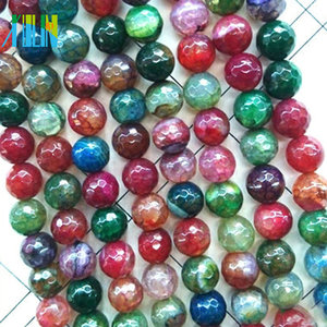 Loose round faceted Brazilian tourmaline semi precious multicolor agate beads