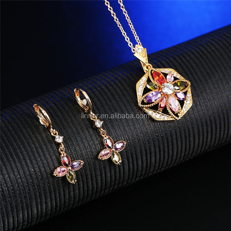 Real 925 sterling silver colorful CZ gemstone diamond wedding engagement jewellery set for bridal free chain