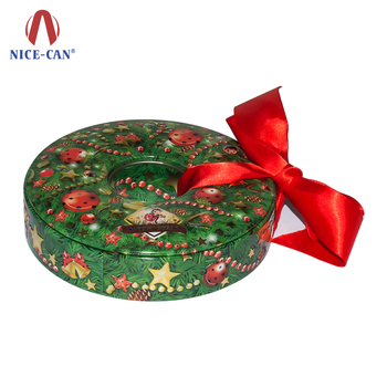 Wholesale Cheap Circle Christmas Candy Tin Donut Shaped Customized Metal Christmas Gift Box