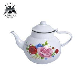 Fashionable flower decal enamel teapot for retail