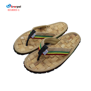 straw bamboo flip flops sandals with durable rubber sole