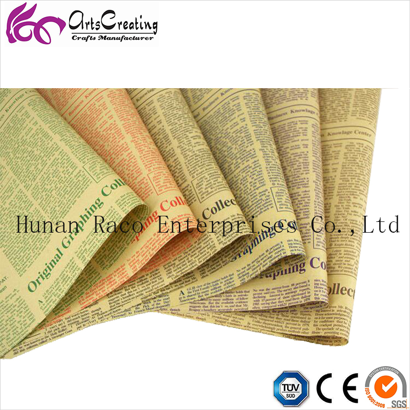 kraft paper newspaper printed wrapping paper for gifts