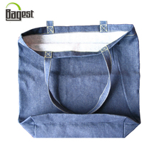 soft washed denim jean shopping tote bag