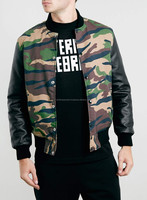 Camo Design varsity jacket with leather sleeves