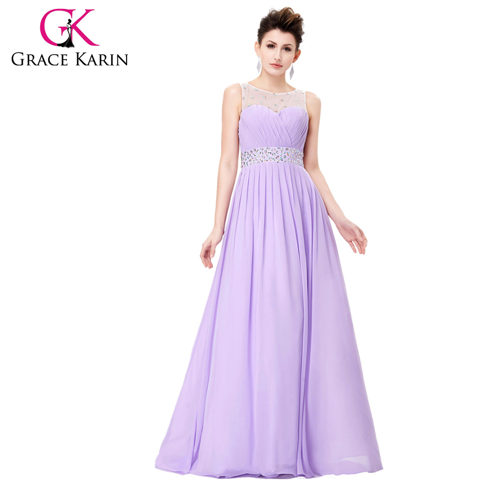 Grace Karin Backless Sleeveless Lilac Chiffon Long Evening Party Dress CL6112-2#