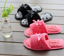 Free Shipping New Arrived Plush Solid Slippers for Girl with Butterfly Girl Indoor Slippers Winter Soft