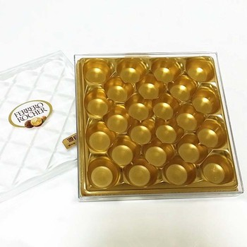 Chocolate Plastic Trays Packaging Vacuum Forming Customized Offset Printing Golden PET Plastic Blister Tray and Box