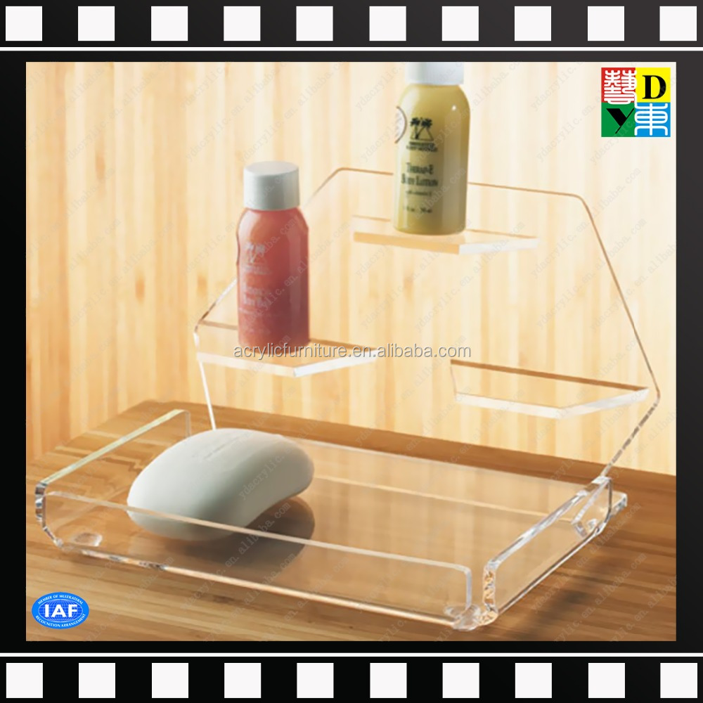 Transparent clair acrylique plexiglas maquillage savon for Accessoire salle de bain hotel