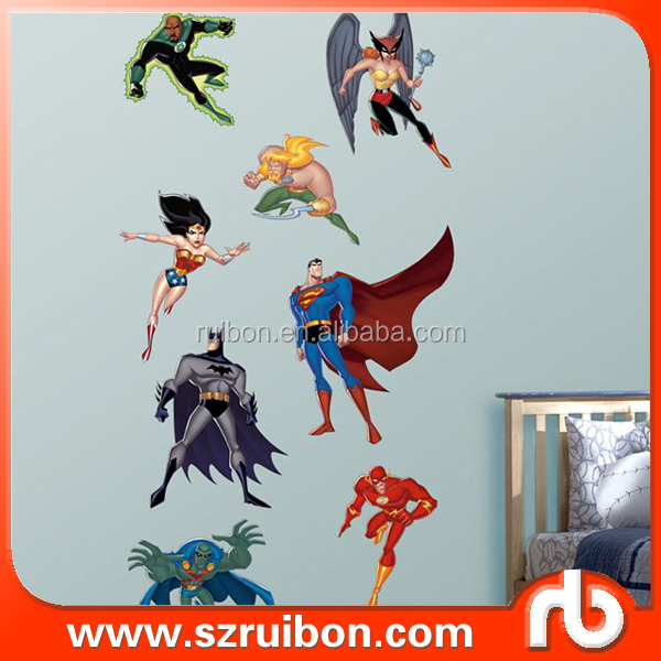 Ni os super heroes dibujos animados pared arte vinilo for Pegatinas pared ninos