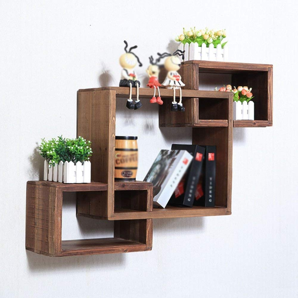 Bookshelf CHUNLAN Solid Wood Wall Hanging Living Room Partition Wall Shelves Wall Cabinet Shelf Do Old Retro A Set Of Three (Size : C 862063cm)