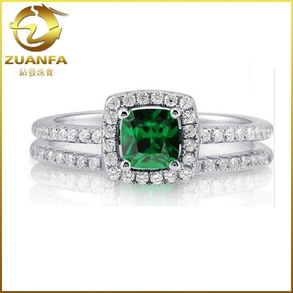 925 Sterling Silver Cushion Cut Emerald CZ Split Shank Ring