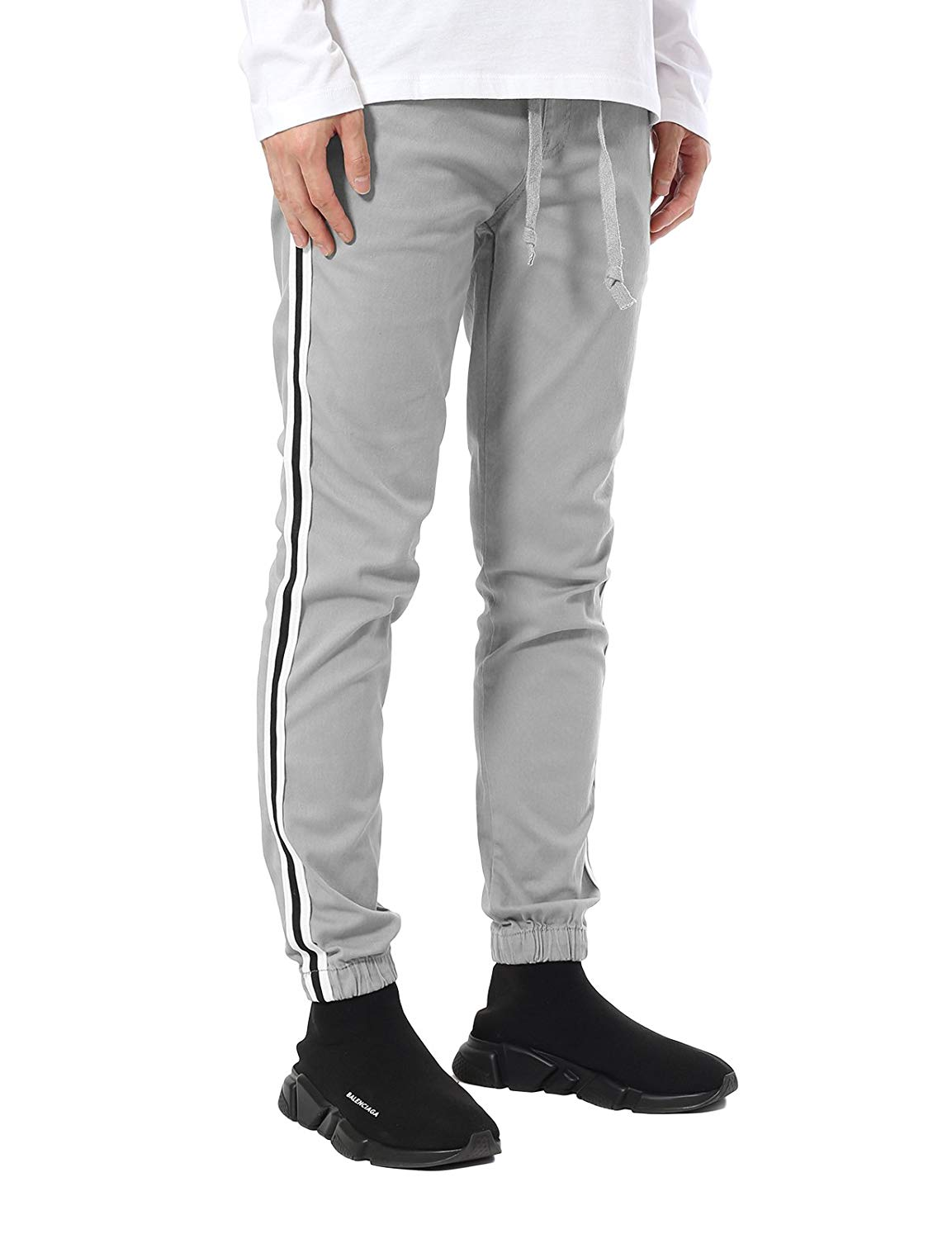 25b830afaa5a Get Quotations · JD Apparel Men s Stripe Track Pants Skinny Fit Stretch  Casual Elastic Athletic Slim Joggers