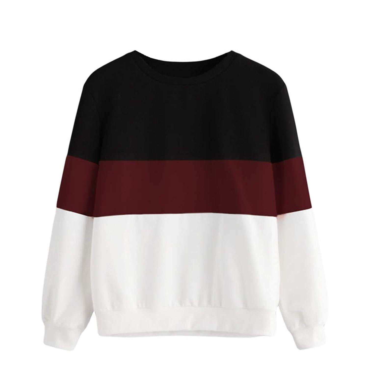 Hengshikeji Womens Casual Long Sleeve Cut Sew Stripe Crop Top Hoodies Sweatshirts Blouses Shirts Jumpers Tunic Pullover