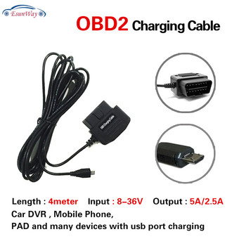 Car Obdii Charging Cable Micro Usb Power Adapter - 16pin Obd2 Connector  Direct Charger For Gps Dvr Camcorder Tablet E-dog Phone - Buy Usb Obd  Charging
