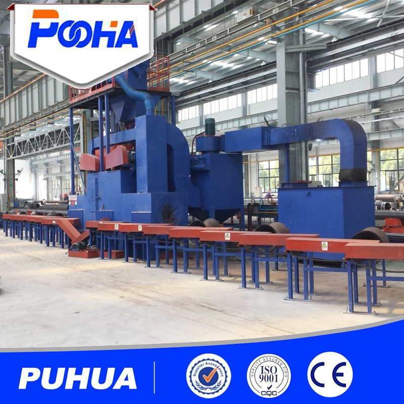 Internal and external surface cleaning steel pipe shot blasting machine