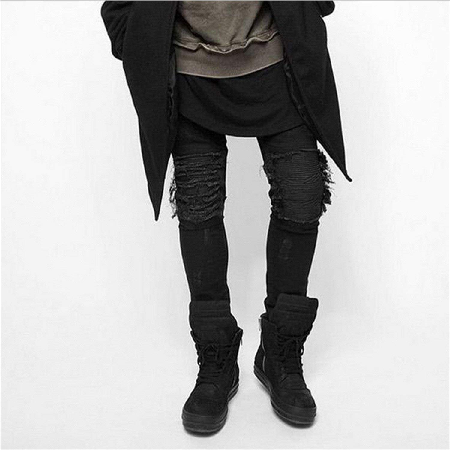 3f48aa938 Get Quotations · Chiffoned Skinny Jeans Men Ripped Slim Stretch Hole  Distressed Mens Biker Jeans Medium Wash Hip Hop