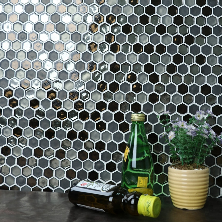 "MM Mosaic hot melt gray blend 1"" hexagon glass mosaic wall tile"