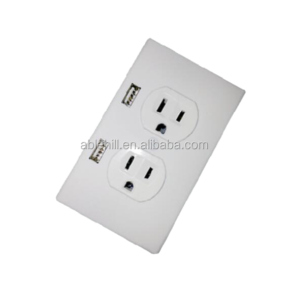 American Us Standard Usb Wall Socket 2 Gang Outlet With 2 Usb With ...