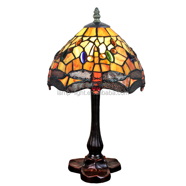 8 Inch Tiffany Table Lamp S009c08t18 Antique Dragonfly Stained ...