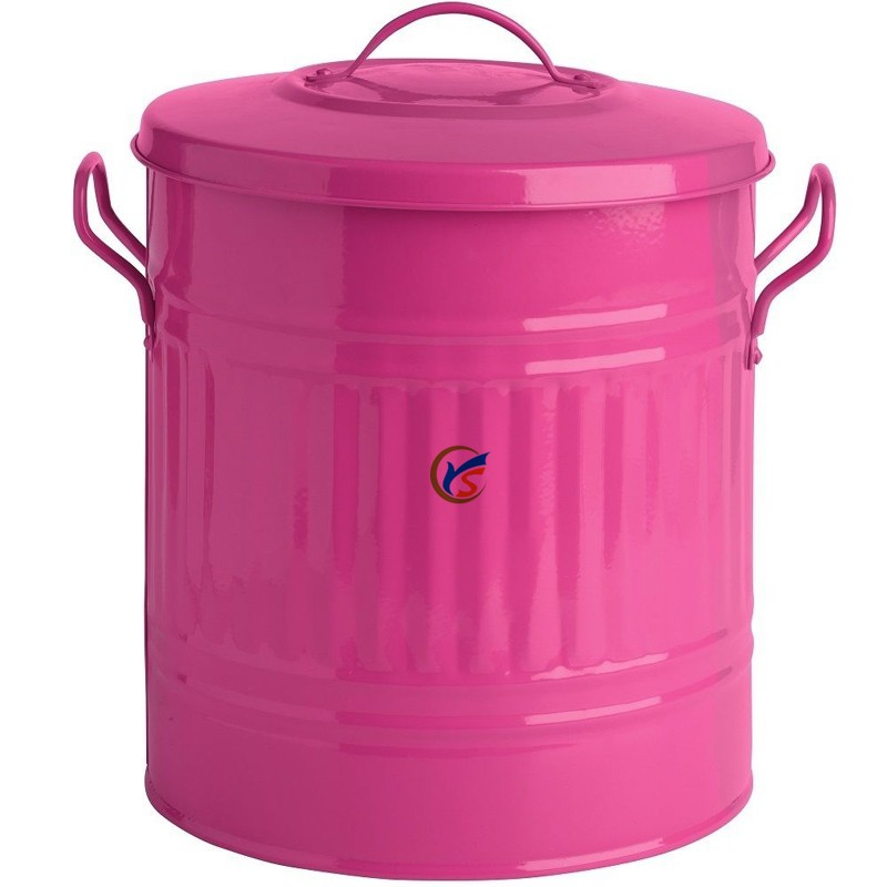 Pink 15 L Galvanized Small Metal Garbage Cans Buy