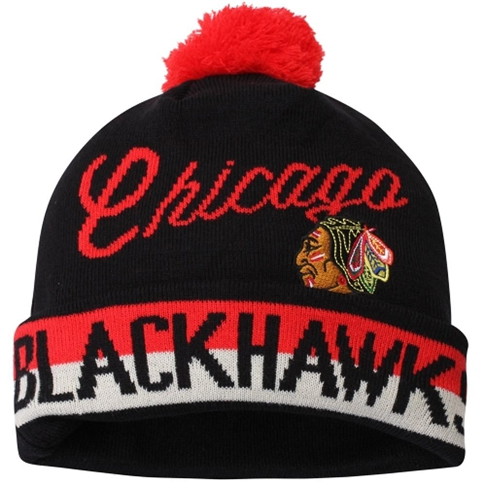 79f6f627fd6 Get Quotations · Youth Chicago Blackhawks Vintage Cuffed Knit Hat with Pom  NHL CCM Official Beanie