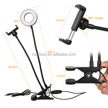 High quality Bracket Cell Phone Holder with Selfie Ring Light for Live Stream,Clamp for Mobile iphone 7,6/plus,for Samsung,HTC