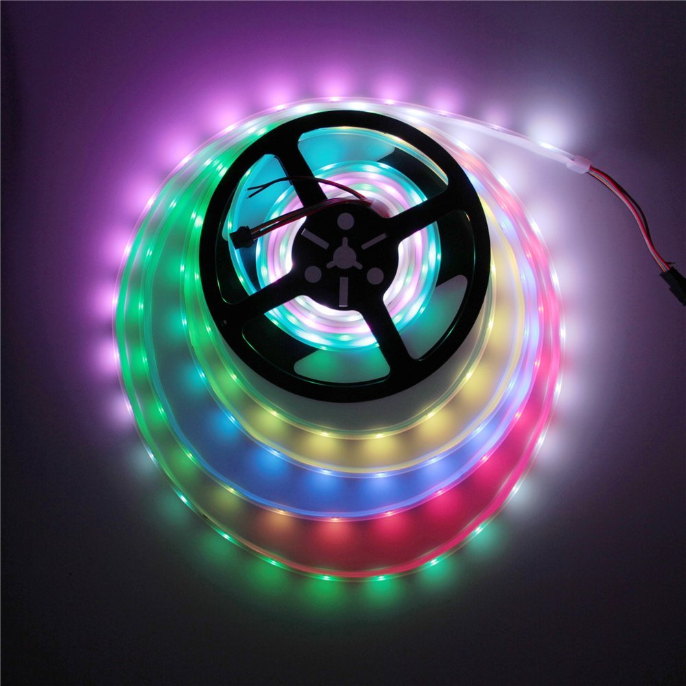 ALITOVE 16.4ft 150 Pixels WS2813 Upgraded WS2812B Individually Addressable 5050 RGB LED Flexible Strip Light Programmable Dream Color Dual signal wires LED Rope Light Waterproof IP67 White PCB 5V DC