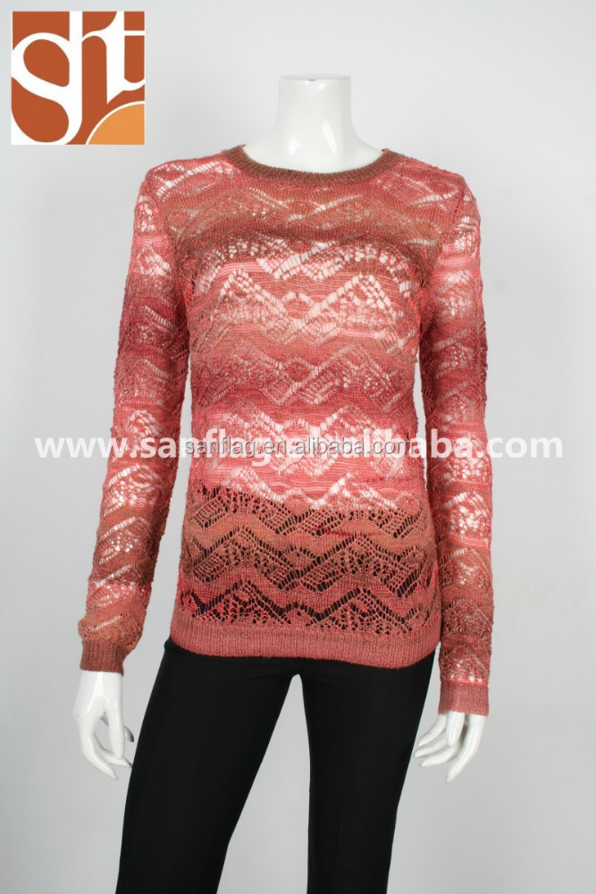 2016 summer latest jumpers tops design ladies sweater knitting pattern transparent polyester/acrylic fancy yarn knitted