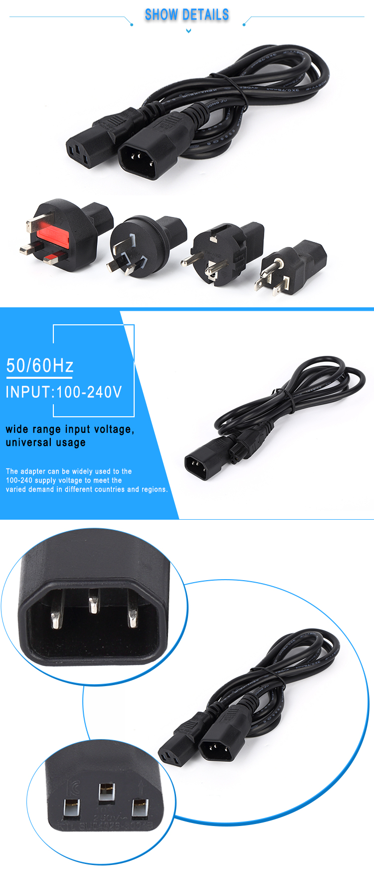 International Power Cord Iec320 C14 With Eu Uk Us Au Plugs