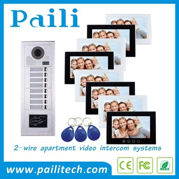 Multi Apartments 2 Wire Video Door Phone Intercom System For