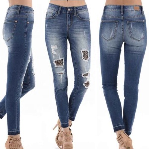 Hot Sale Blue Women Leopard Jeans Pants