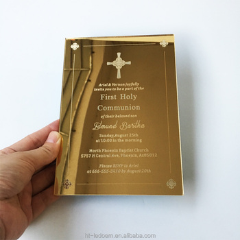 Personalised Golden Mirror Acrylic First Holy Communion Invitations