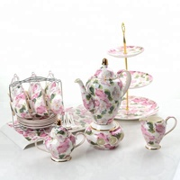 Royal Pink flower porcelain tea pot english porcelain tea set coffee set