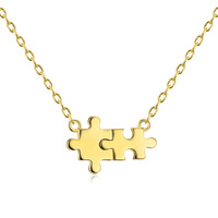 14k gold autism 925 silver newest puzzle necklace