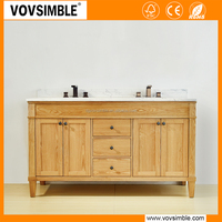 Vovsimble American style wood bathroom cabinet with marble Top, Bathroom Vanity Cabinet Set