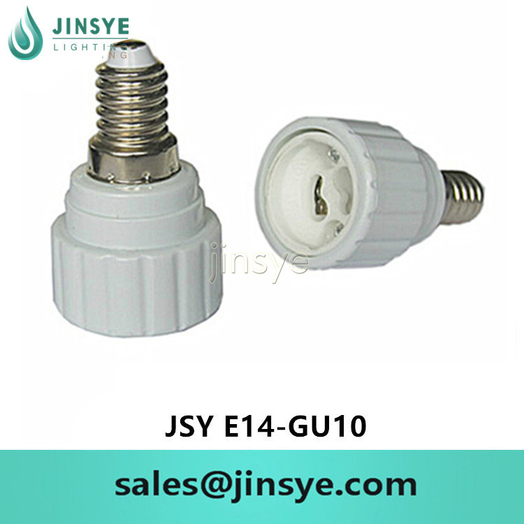 E14 <strong>to</strong> <strong>GU10</strong> white plastic lamp holder <strong>adapter</strong>
