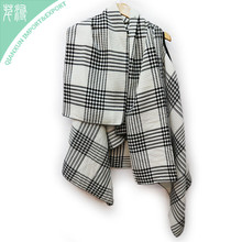 Plaid knitted acrylic oblong winter custom scarf