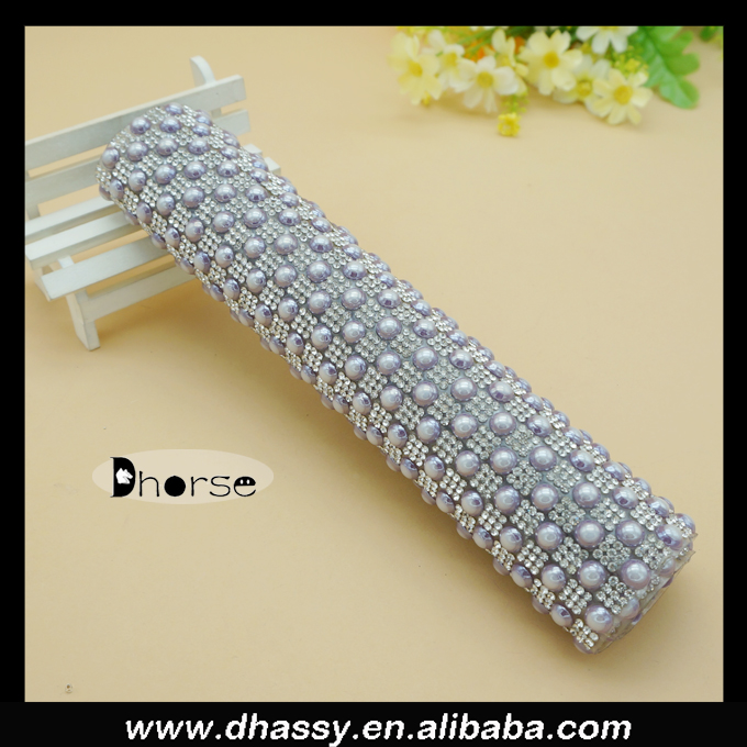 Hot fix glue silver crystal diamond rhinestone mesh DHRM1521