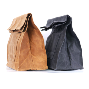 Heavy duty insulated waxed canvas lunch bag
