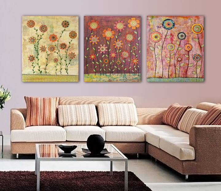 wholesale Modern Abstract Decorative 3 grouping Oil Painting pictures of flowers