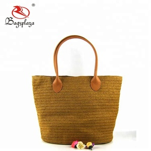 Wholesale lady paper straw rattan beach bag jute bag jelly mat bag