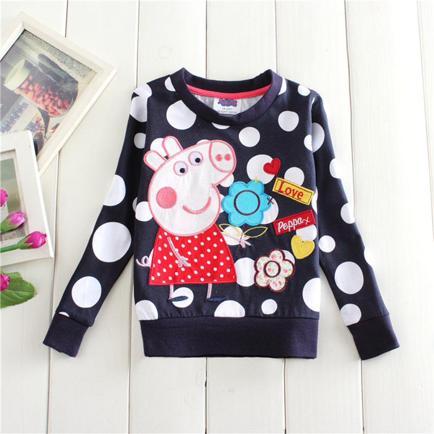 2016 spring autumn 18m 6y kids cotton tees children s clothing thick embroidery peppy pig long