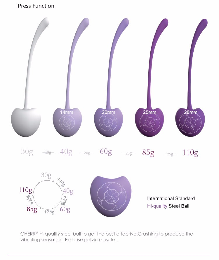 Cherry Intimate Kegel Exercise Weights Rose, Doctor Recommended for Bladder Control & Pelvic Floor Exercises