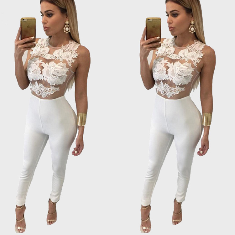 Hot Sexy Frauen Bodycon Weiß Lace up Overall Sexy Transparent Mesh Overall