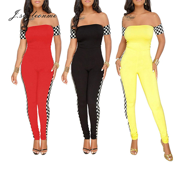 Women Bodysuit Jumpsuit Plaid Strapless Sexy Halter Red Yellow Black Ladies Trousers Jumpsuit