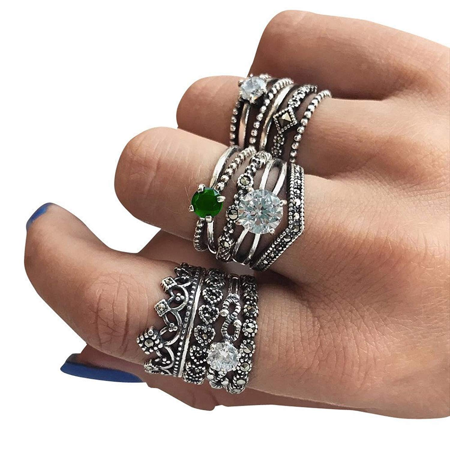 1db0e6dd5 Get Quotations · 12PC Women Bohemian Vintage Silver Crystal Stack Rings  Above Knuckle Rings Set
