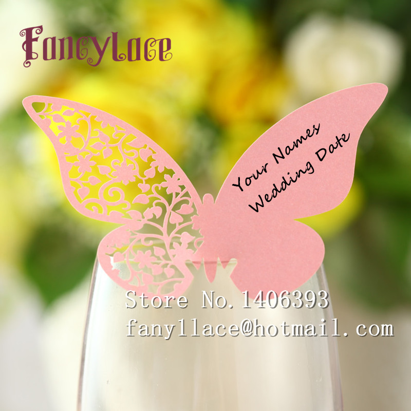 Free Shipping 100pcs Laser Cut Vine Erfly Table Mark Wine Gl Name Place Cards Wedding Party Favor Prints